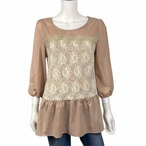 NEW A'reve Tan Cream Lace Shirt Size L